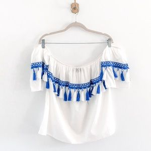 Francesca's Tassel Fringe Off Shoulder Top